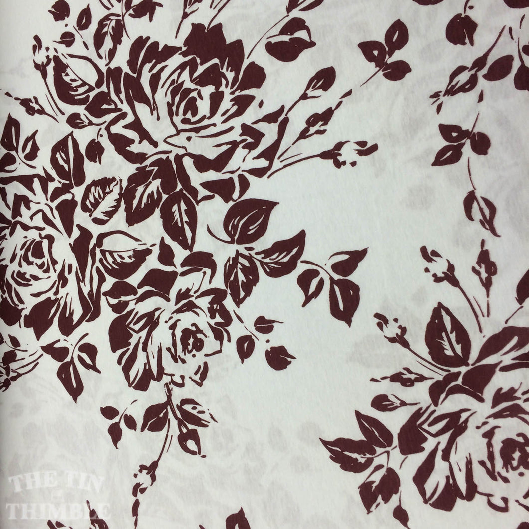 Jersey Knit Fabric / Floral Knit / White & Burgundy - 1 Yard -Cotton Fabric / Knit by Yard / Tshirt Fabric / Cotton Knit / Printed Knit