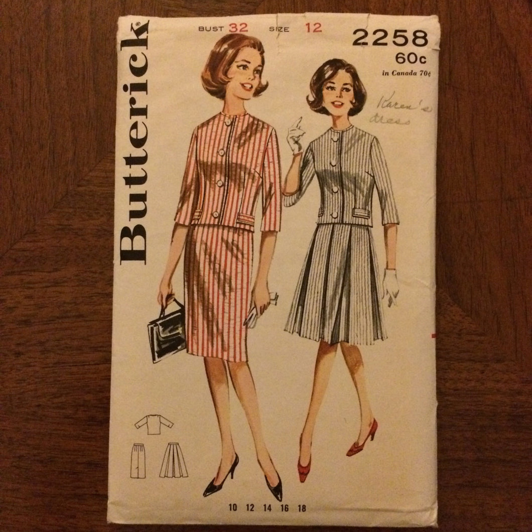 1960s Butterick Skirt and Jacket Pattern 2258 Sz 12 Bust 32 - 1960s Butterick / 60s Butterick / 19  / Butterick Pattern