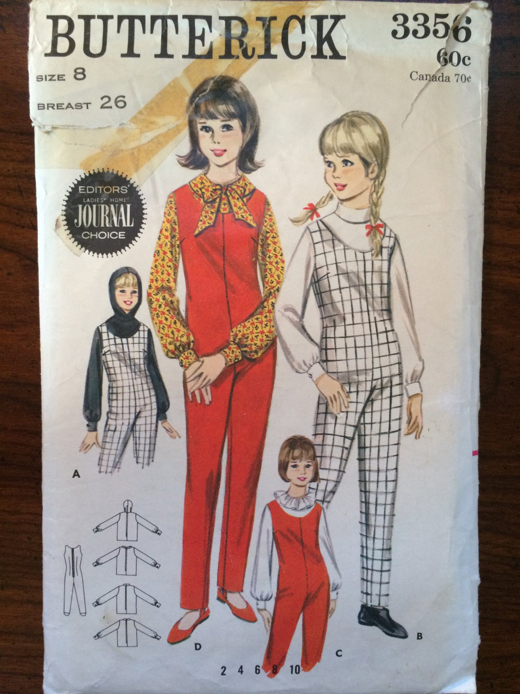 1960s Butterick Girl's Jumpusit and Blouse Pattern #3356 Sz 8 Bust 26