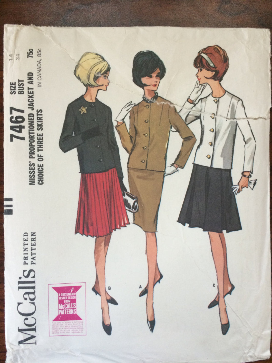 Misses Jacket and Skirt Pattern #7467 Vintage 1964 McCall's  Size 14 Bust 34