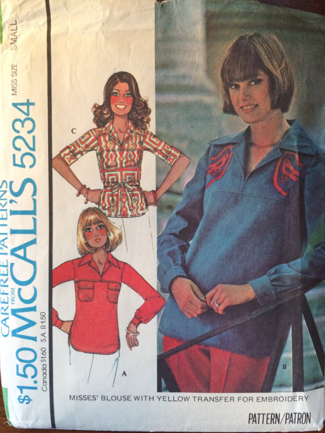 Blouse Pattern / Vintage Sewing Pattern / Embroidery Transfer / McCall's 5234 / Small Bust 32.5-34 / 1970s Pattern / Blouse Sewing