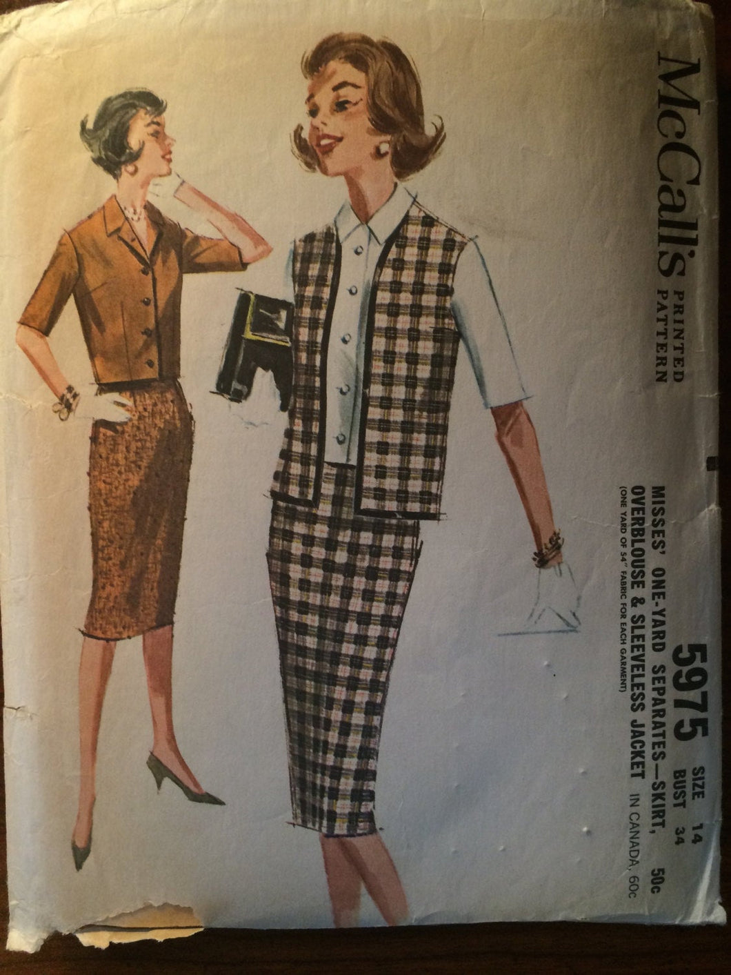 Vintage 1960 McCall's Misses' One Yard Separates Pattern #5975 Size 13 Bust 33