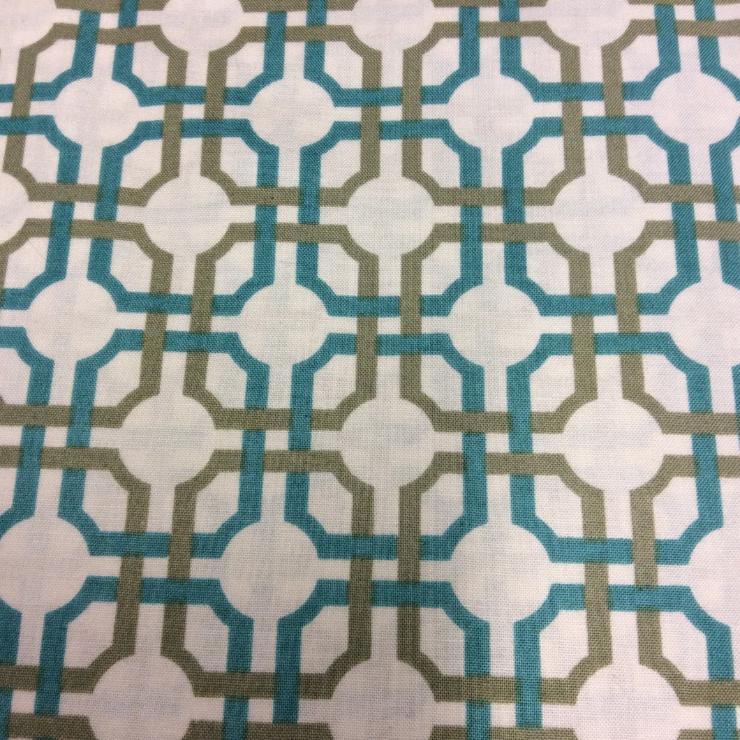 Lattice Print - So Chic in Aqua by Quilting Treasures - 1 Yard - Cotton Fabric / Fabric by Yard / New Fabric / Quilting Cotton