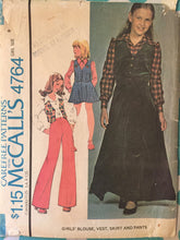Load image into Gallery viewer, Vintage Sewing Pattern / McCall's 4764 / Girl's Vest / Girl's Blouse / Girl's Skirt / Girl's Pants / Size 8 Bust 27 / 1970s McCall's