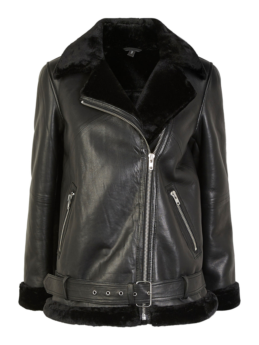 YASALVA AVIATOR LEATHER JACKE BLK