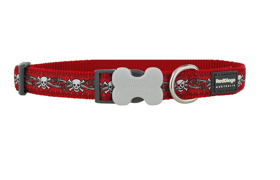 Red Dingo Halsband XS, 20-32cm Skull Red