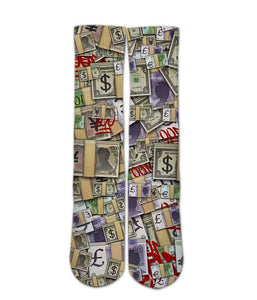 Emoji Printed Socks-Emoji Foreign money sock design-Custom Elite Crew socks - DopeSoxOfficial