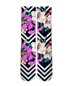 Floral pattern printed graphic socks - DopeSoxOfficial