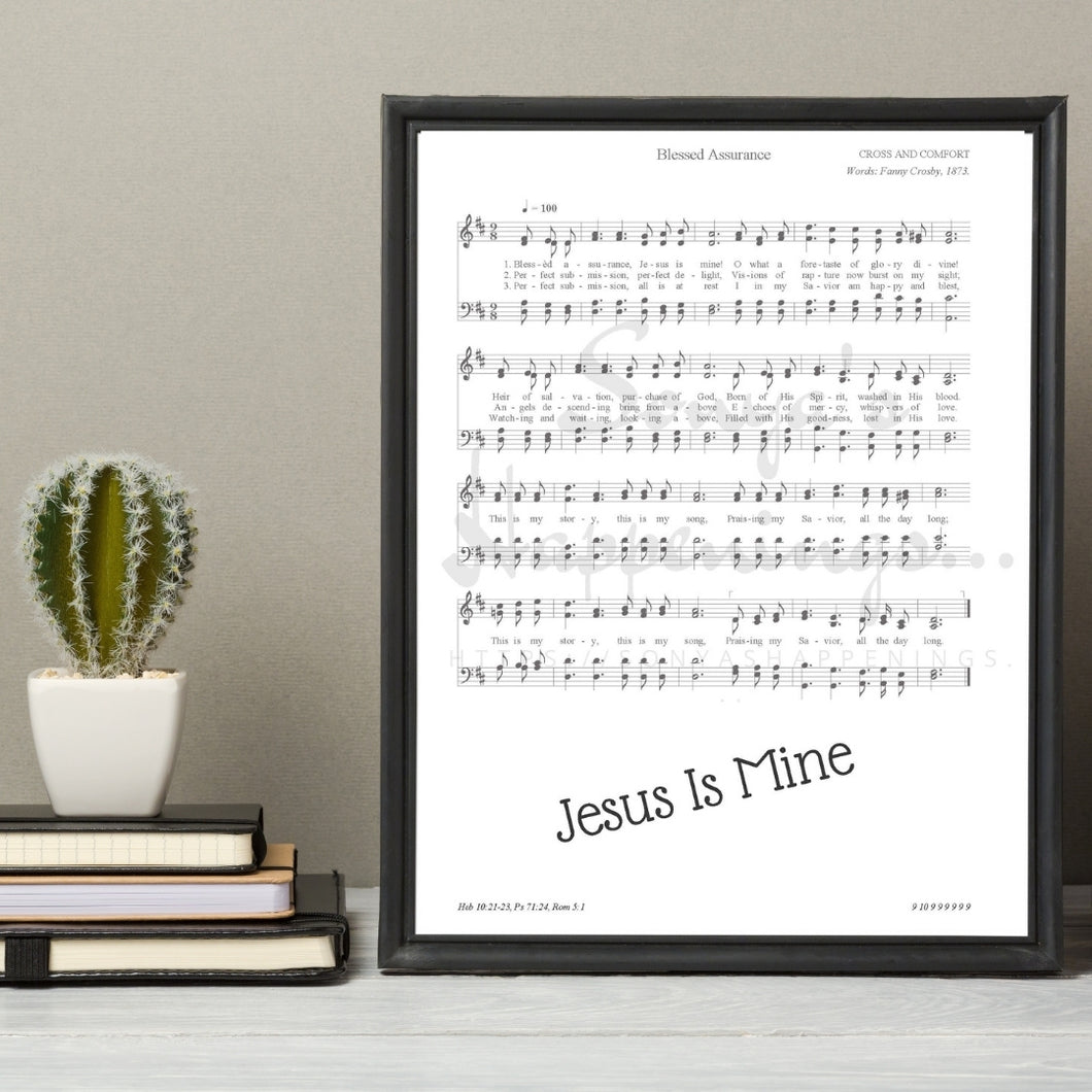 Blessed Assurance ~ Jesus Is Mine ~ Hymnal Wall Art