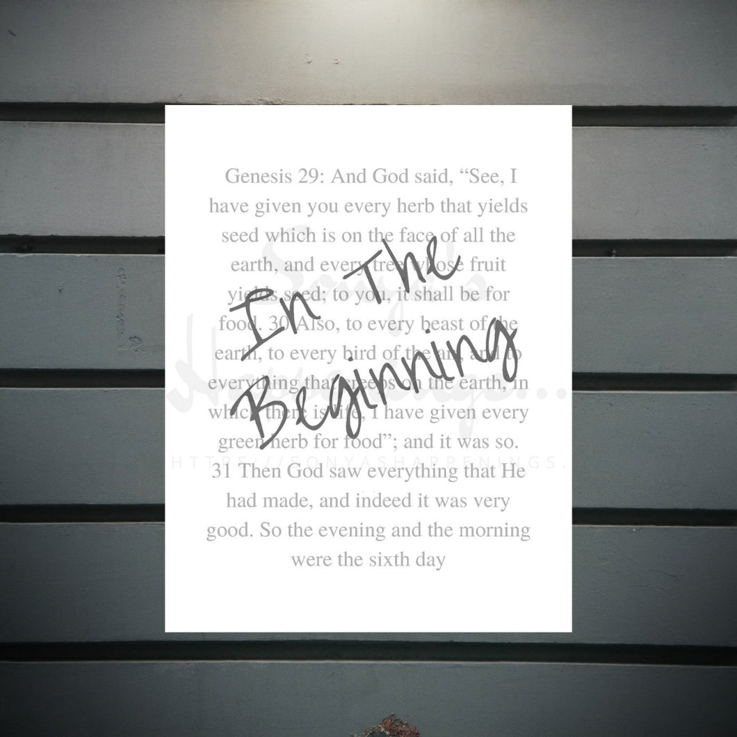 In The Beginning... Christian Wall Art