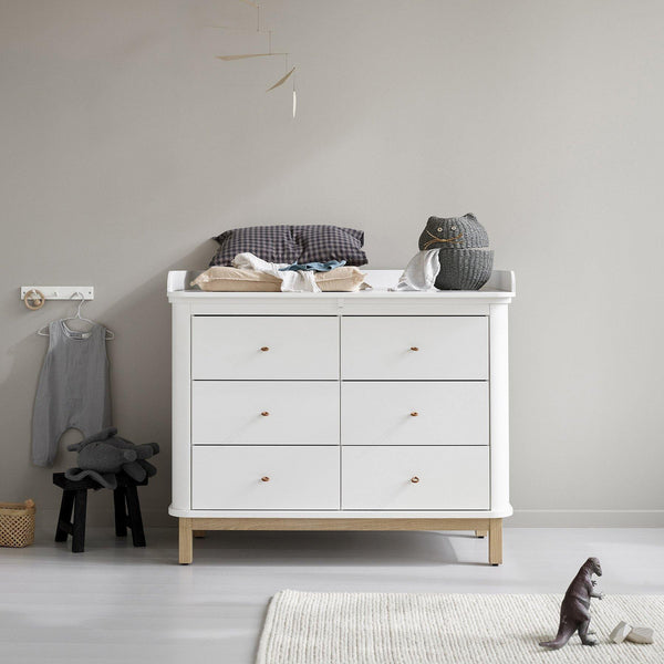 Wood pusleplade til Wood kommode 6 skuffer, stor - Oliver Furniture