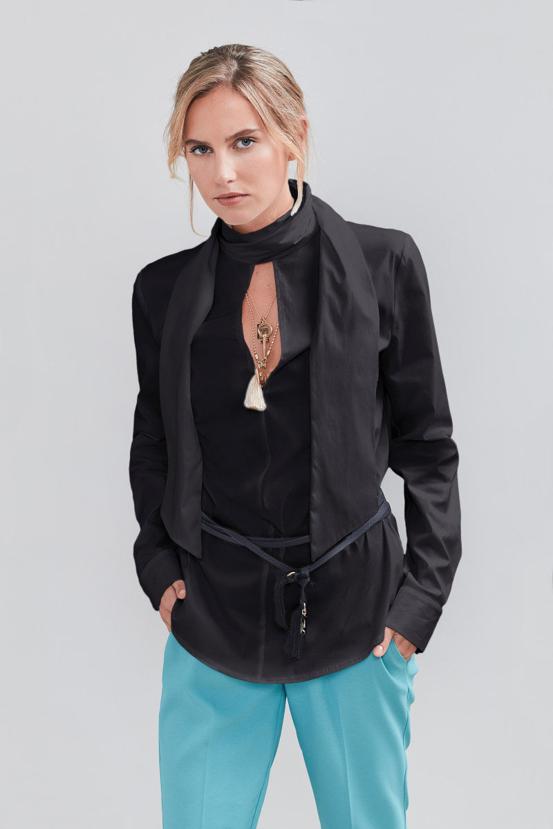 Blusa in popeline con collo a foulard 38 / NERO