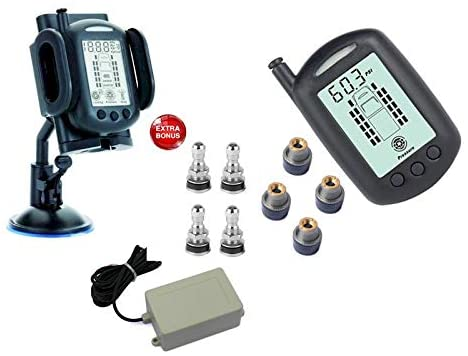 REACH RV 4 WHEEL TPMS SYSTEM WITH BONUS TIRE VALVES & SIGNAL BOOSTER