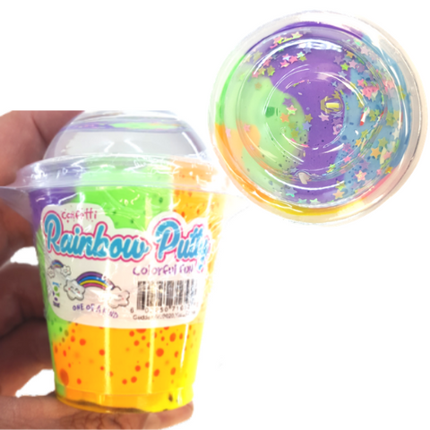 Putty Rainbow Colors With Confetti Sparkle