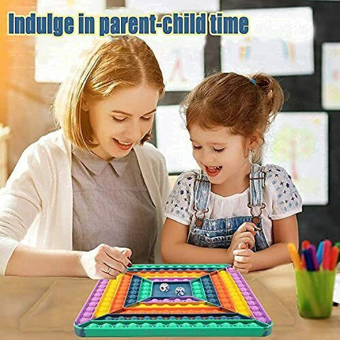 Pop It Game Square Board Game 12 by 12 inch Rainbow Color