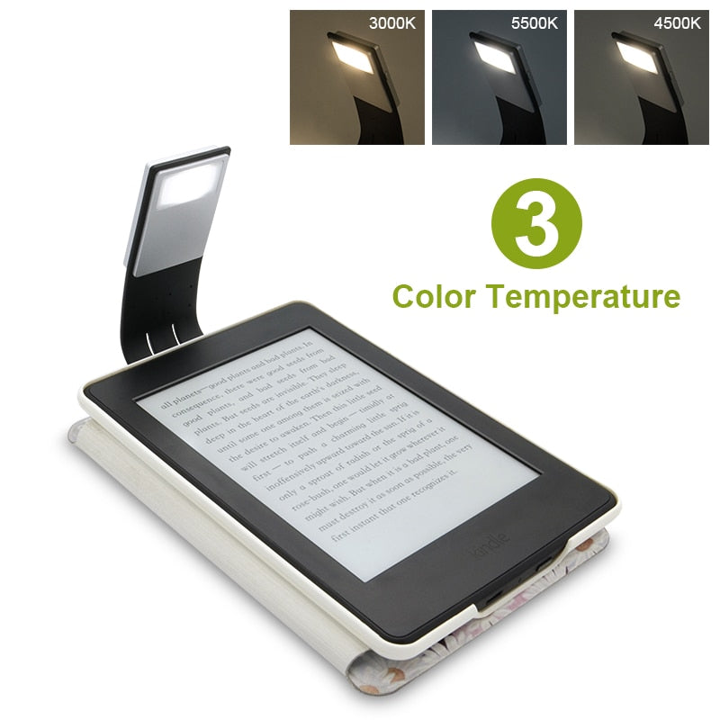 Rechargeable Led Power Bank Reading Light For E-book  / Kindle Paper with 4 Intensities