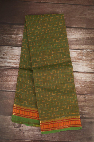 Green With Orangish Yellow Cotton Saree - rajmahalsilk