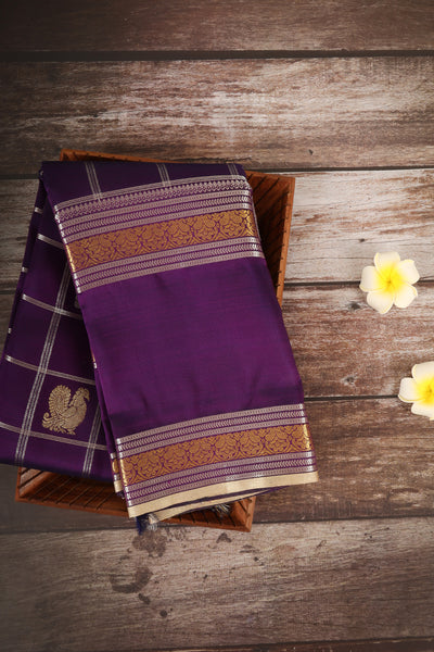 Violet with cream silk saree - rajmahalsilk