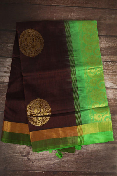 Dark Chocolate Brown And Green Upadam Silk Cotton Saree - rajmahalsilk
