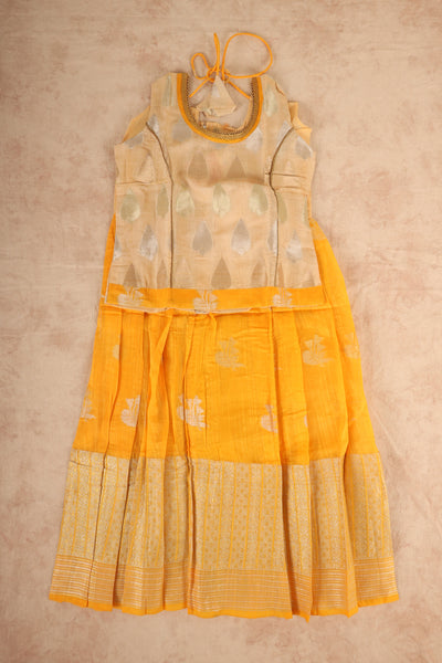 Sandle with yellow cotton pattu pavadai - rajmahalsilk
