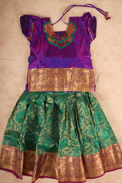 Violet with ramar greenish peacock neck colour pure silk pattu pavadai - rajmahalsilk