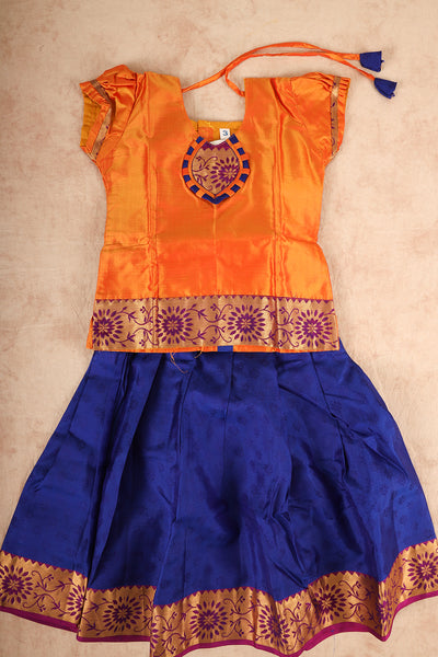 Orange with blue pure silk pattu pavadai - rajmahalsilk
