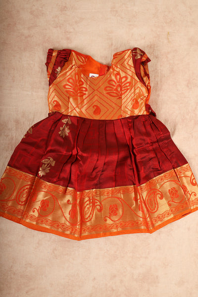 Orange with maroon pure silk pattu pavadai - rajmahalsilk