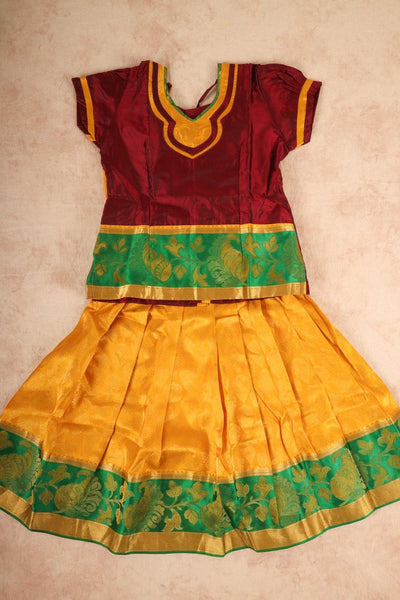 Maroon with yellow combo pure silk pattu pavadai - rajmahalsilk