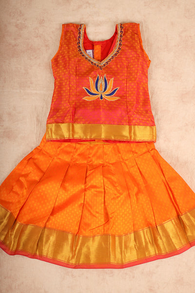Orange with yellow pure silk patu pavadai - rajmahalsilk