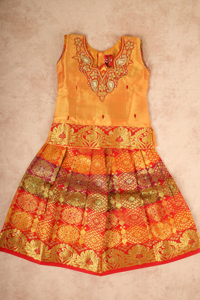 Yellow with red mixed silk pattu pavadai - rajmahalsilk