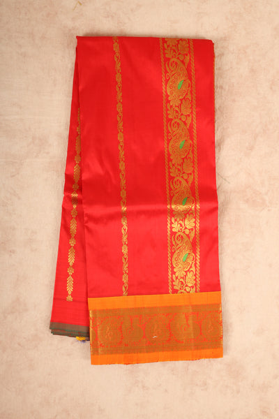 Orange with yellow pure material pattu pavadai - rajmahalsilk