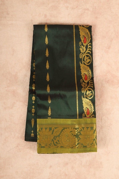 Dark green with light green pure material pattu pavadai - rajmahalsilk
