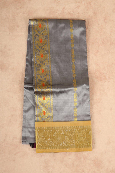 Grey pure silk pattu pavadai material - rajmahalsilk