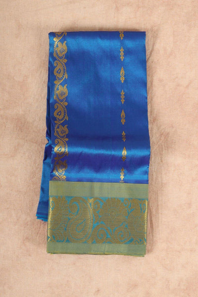 Blue with green pure material pattu pavadai - rajmahalsilk