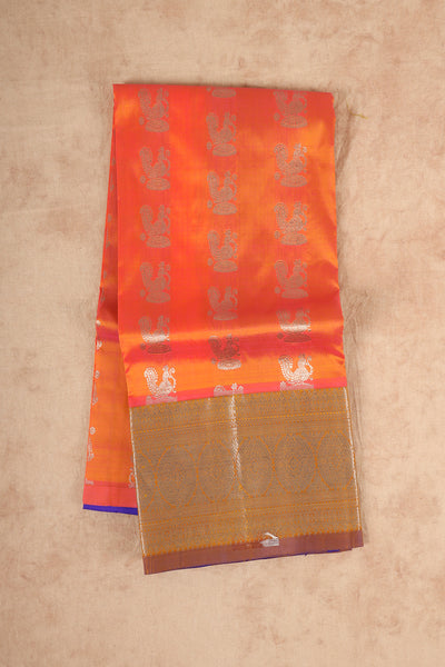 Pinkish orange pure silk pattu pavadai material - rajmahalsilk