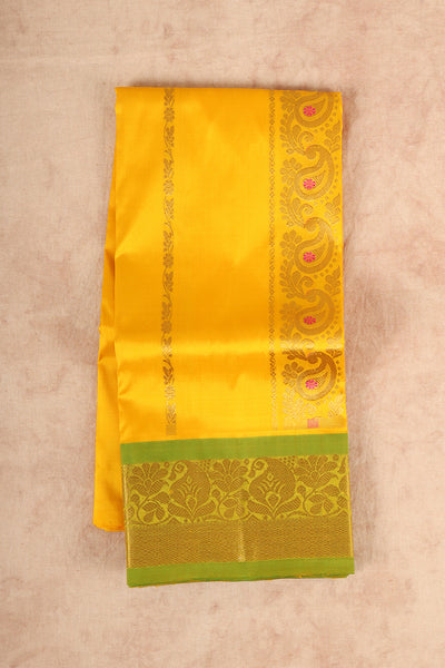Yellow with green pure material pattu pavadai - rajmahalsilk