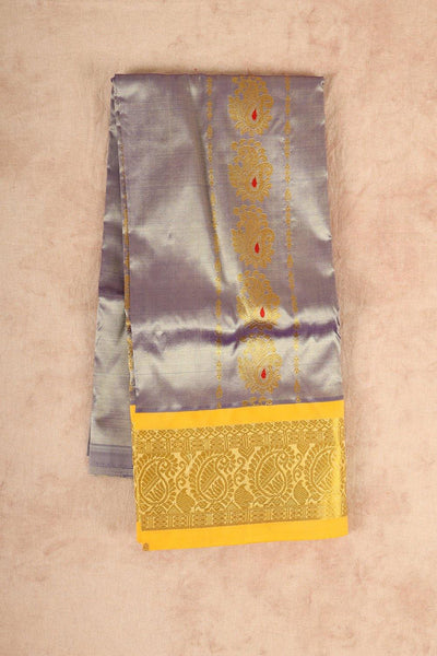 Grey with yellow pure material pattu pavadai - rajmahalsilk