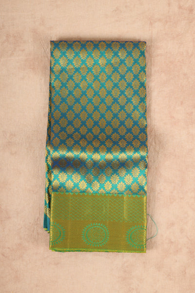 Ramar green with leaf green silk material pattu pavadai - rajmahalsilk