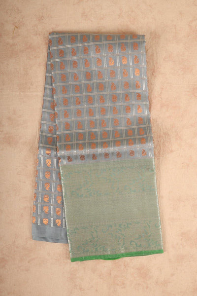 Grey with green pure silk material pattu pavadai. - rajmahalsilk