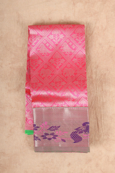 Pink with green material silk pattu pavadai - rajmahalsilk