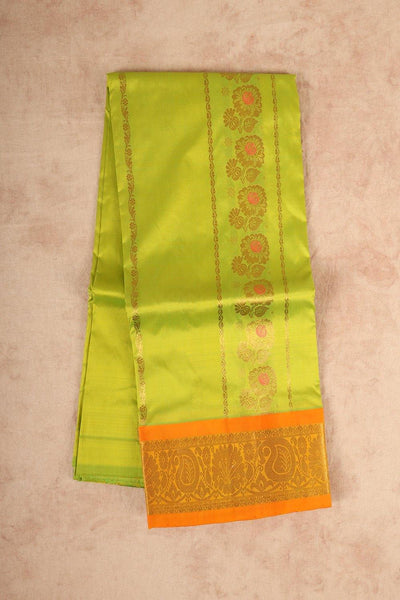 Light green pure silk pattu pavadai material - rajmahalsilk