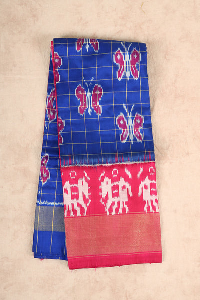 Royal blue ikkat pure silk pattu pavadai material - rajmahalsilk