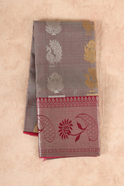Grey with maroon silk pattu pavadai - rajmahalsilk