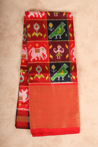 Red,orange,black and maroon cracked pure pattu pavadai - rajmahalsilk