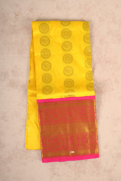 Yellow pure silk pattu pavadai material - rajmahalsilk