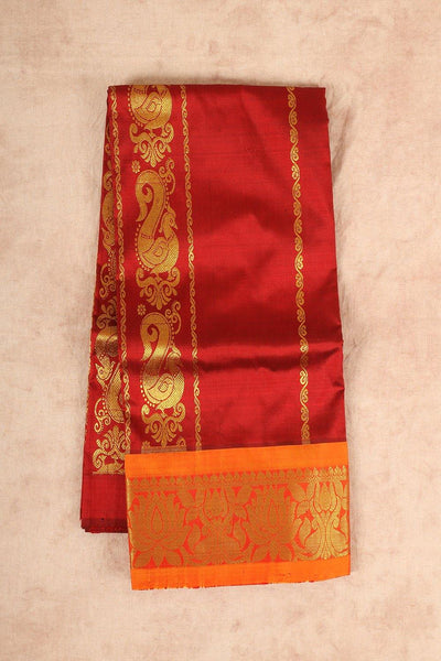 Maroon with orange pure material pattu pavadai - rajmahalsilk