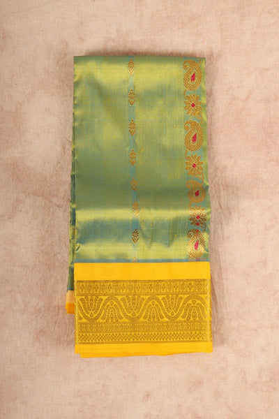 Light green with yellow pure material pattu pavadai - rajmahalsilk