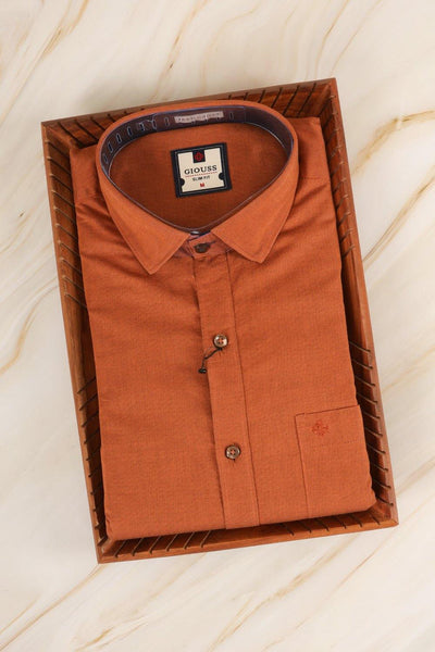 Marmalade orange cotton shirt - rajmahalsilk
