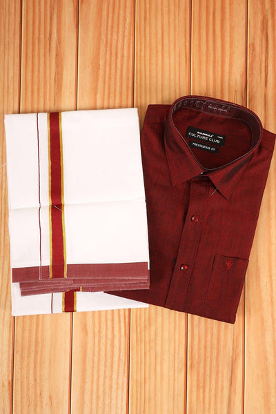 Maroon shirt with matching border dhothi - rajmahalsilk