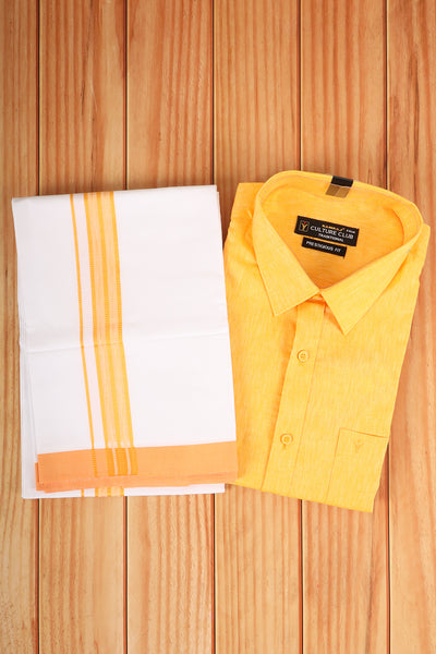 Yellow shirt with matching border dhothi. - rajmahalsilk